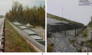 Рис. 8. Шунгитовые фильтры на МКАД при пересечении с р. Яузой (А) и очистное сооружение ливневых стоков (р. Клязьма)(Б)