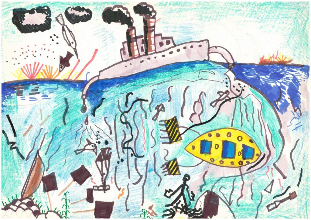 «Загрязнение водоемов», Усачев Владимир, 7 лет, ДДТ «Преображенский», изостудия