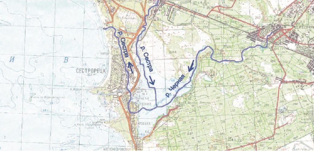 Рисунок 1. Русла рек Сестра и Черная до образования водохранилища Сестрорецкий Разлив