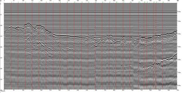 Рисунок 1. Исходная радарограмма по профилю ГПР-2