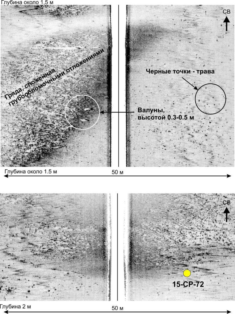 Рис. 2. Примеры записи ГЛБО с грядами, сложенными грубообломочными отложениями. Желтый кружок – станция донного пробоотбора.