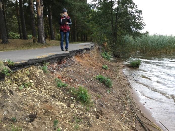 Рис. 4Б. Абразионный моренный тип берега: разрушение асфальтированной дорожки в результате абразии.