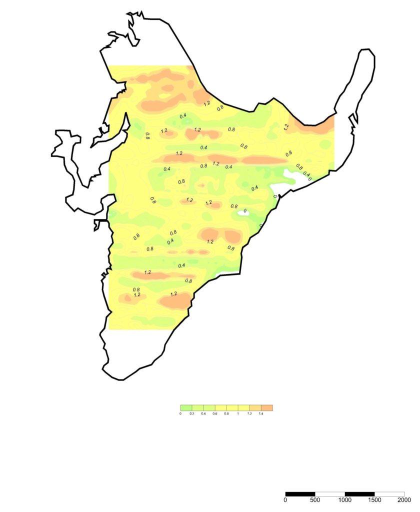Рисунок 6. Карта распределения мощности иловых отложений