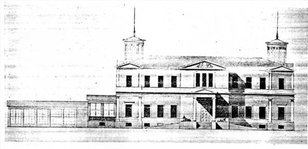 Усадьба Ю.П. Самойловой. Архитектор Александр Брюллов. Фасад со стороны дороги. 1830 год