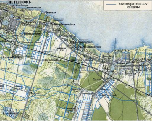 Рисунок 2. Фрагмент топографической карты частей С.-Петербургской губернии 1860 года