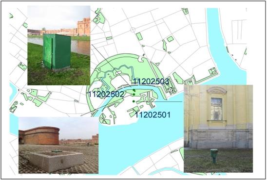 Рисунок 2. Схема расположения наблюдательных скважин на территории Петропавловской крепости