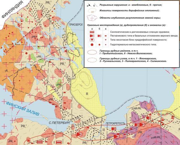 Рис.6. Урановые месторождения в районе Санкт-Петербурга