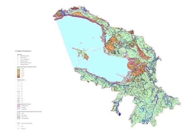 Рисунок 1. Карта максимальных прогнозных уровней грунтовых вод на территории Санкт-Петербурга