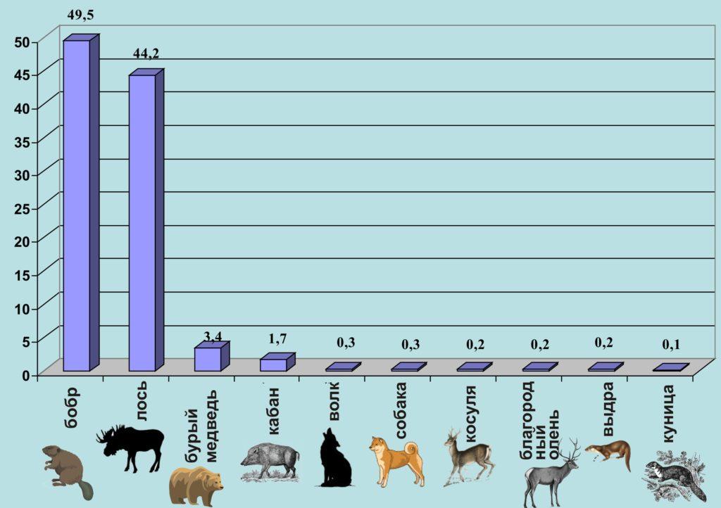 Рисунок 2. Видовой состав охотничьей добычи раннемезолитического населения восточной части Балтики