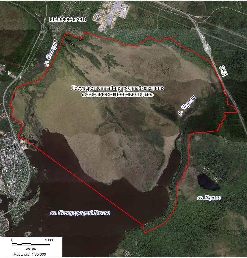 Карта границ государственного природного заказника «Сестрорецкое болото»