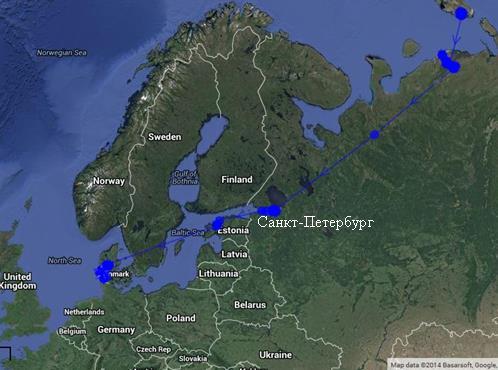 Осенний миграционный маршрут с местами остановок малого лебедя по имени Эйлин (по материалам: https://www.flightoftheswans.org/meet/bewicks-swans/)