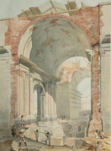 О. Монферран. Вид на разборку старого Исаакиевского собора. 1842. Акварель