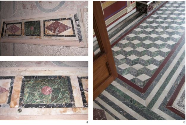 Фото 1. Мозаичный пол Столовой Царицына павильона, в ходе (а) и после реставрации (б)