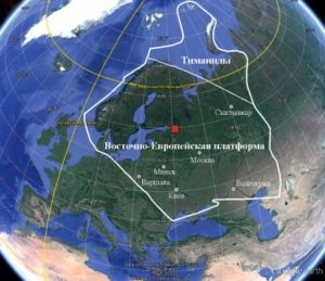 Рисунок 3. Контуры кембро-ордовикского континента Балтика в составе современной Евразии. Местоположение реки Поповки здесь и далее показано квадратом с красной заливкой