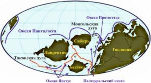 Рисунок 4. Реконструкция положения континентов в раннем кембрии 540 млн лет назад (по Р. Блэки)