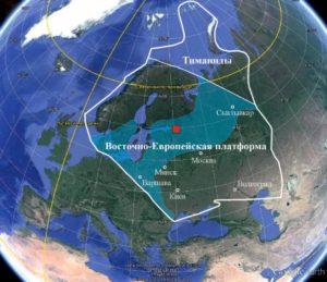 Рисунок 5. Контуры морского бассейна, занимавшего часть континента Балтика в раннем кембрии