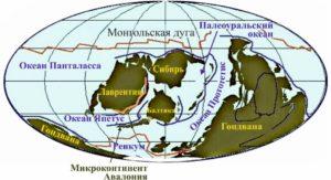 Рисунок 21. Реконструкция положения континентов в позднем ордовике, 445 млн лет назад (по Р. Блэки)