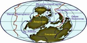 Рисунок 22. Реконструкция положения континентов и океанов в среднем и позднем девоне, 390–370 млн лет назад (по Р. Блэки)