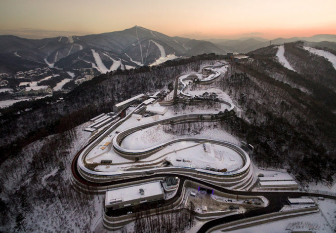 This picture taken on December 28, 2017 in Pyeongchang shows the Olympic Sliding Centre, a venue for the 2018 Pyeongchang Winter Olympics. Thousands of avid speed skating fans will pack the futuristic Gangneung Oval for the Olympic tournament next month. But afterwards one suggestion is for the cavernous steel-grey structure to host frozen fish. / AFP PHOTO / Yelim LEE        (Photo credit should read YELIM LEE/AFP/Getty Images)